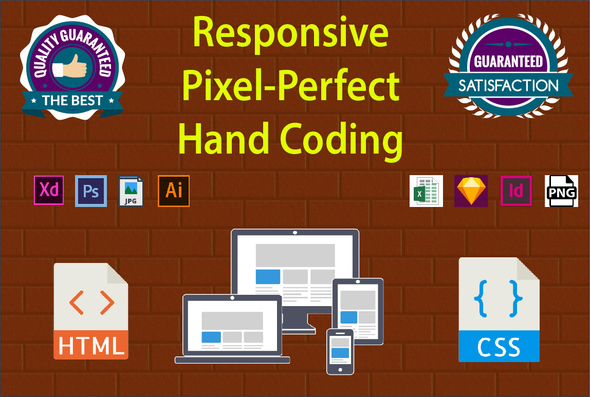 I will convert psd, xd, ai, sketch, image to html/css with responsive.