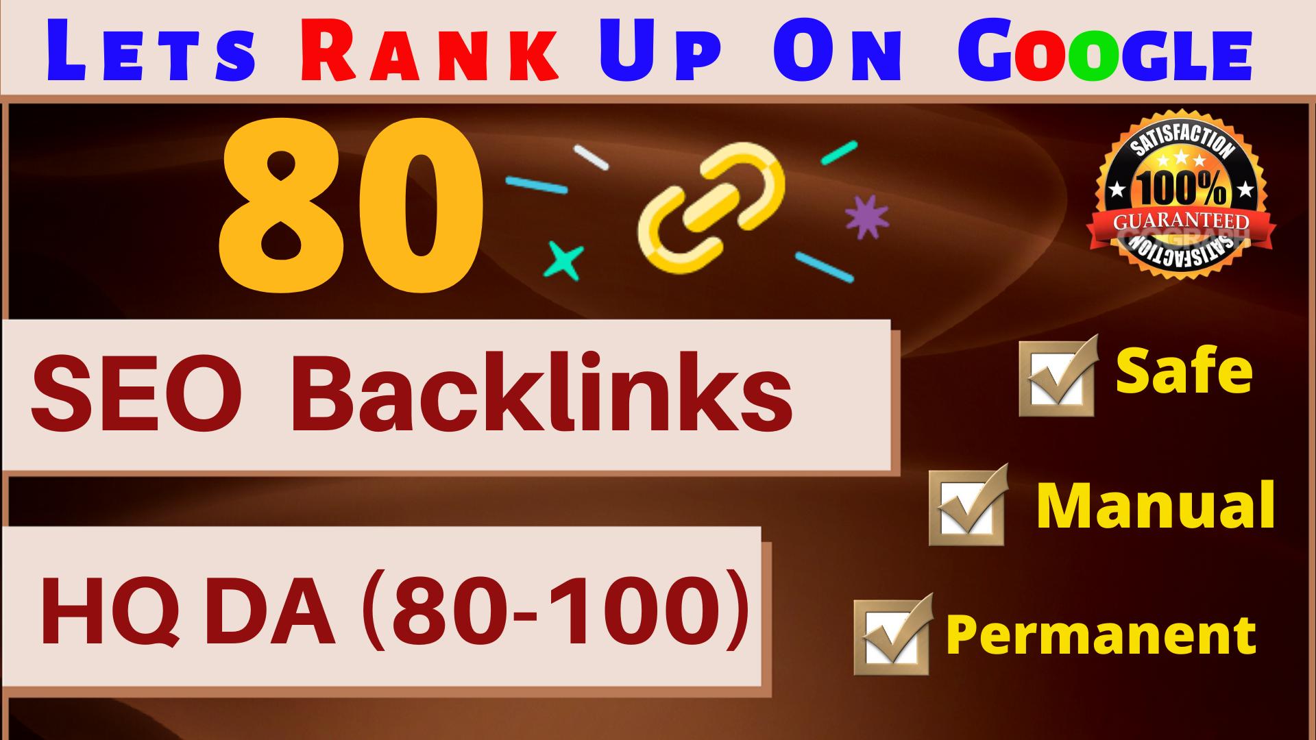 MANUALLY Do 80 UNIQUE PR9 SEO BackIinks on DA100-60 sites Plus Edu Links