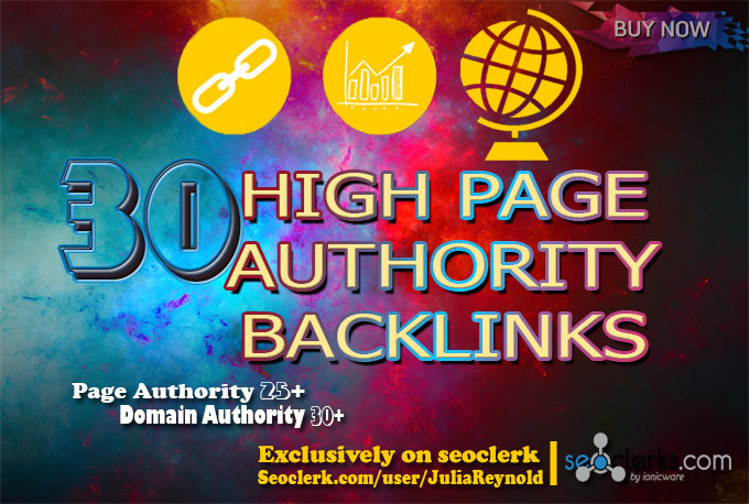 30 high page authority back-links on high Domain Authority