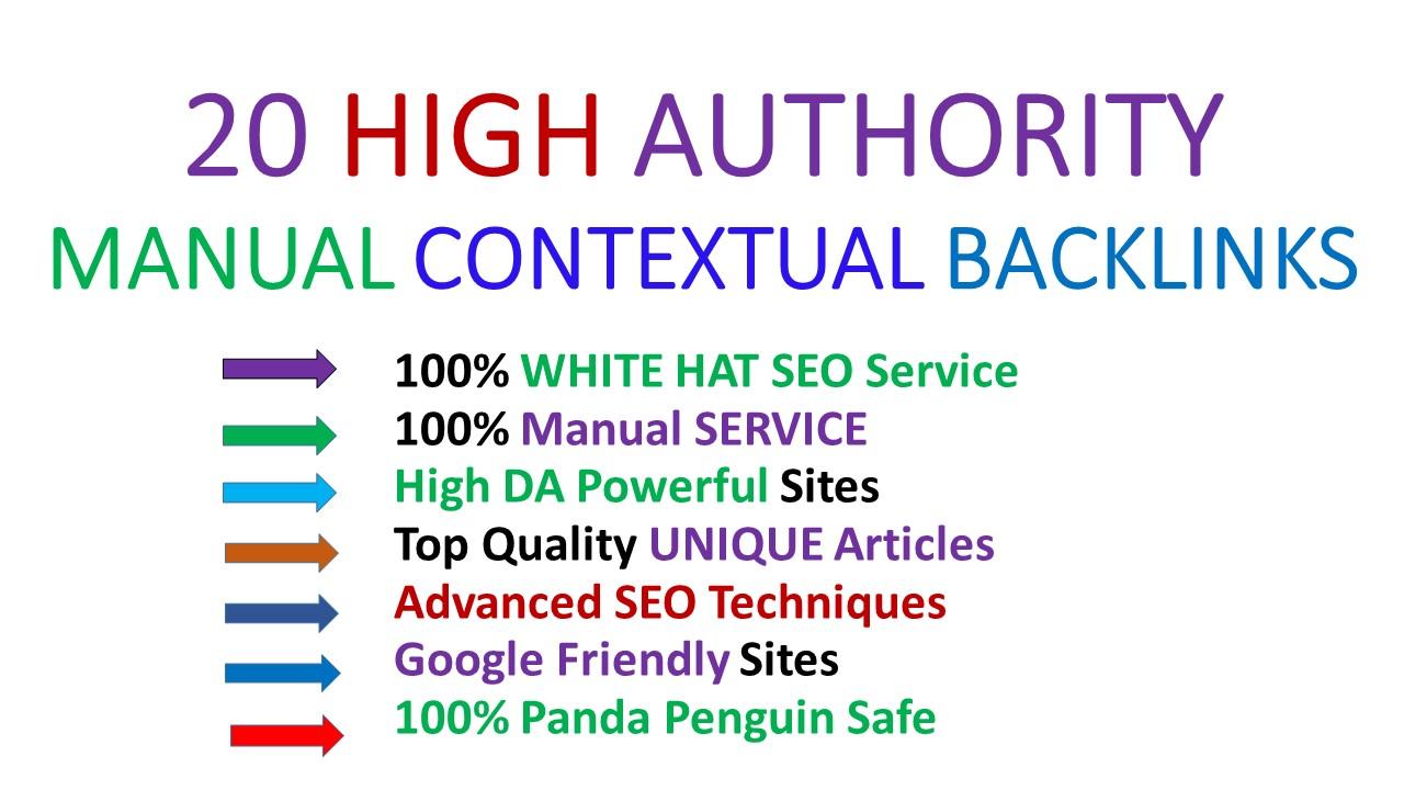 2021 Exclusive SEO Manually 20 High Authority Contextual Backlinks