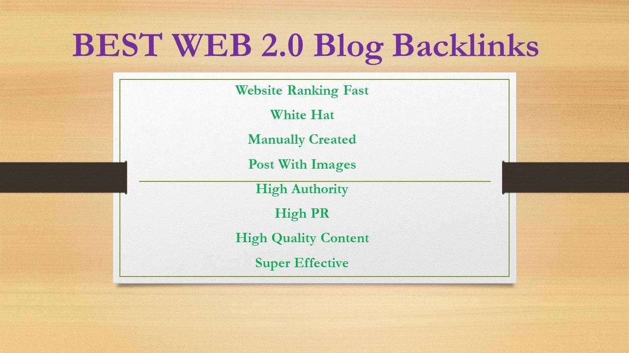 10 Manually High DA Web 2.0 and 100 2nd Tier Backlinks