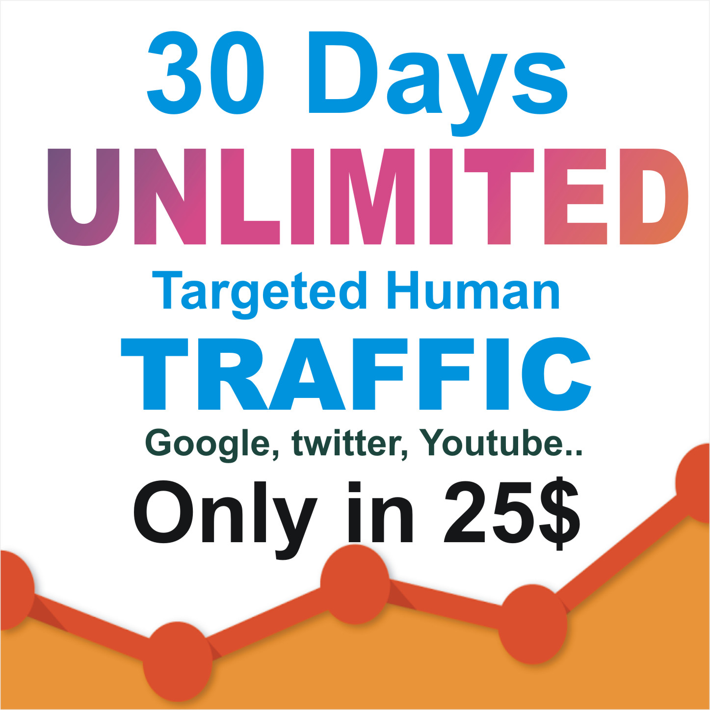 30 days UNLIMITED Real HUMAN TRAFFIC BY Google Twitter Youtube and many more to your website