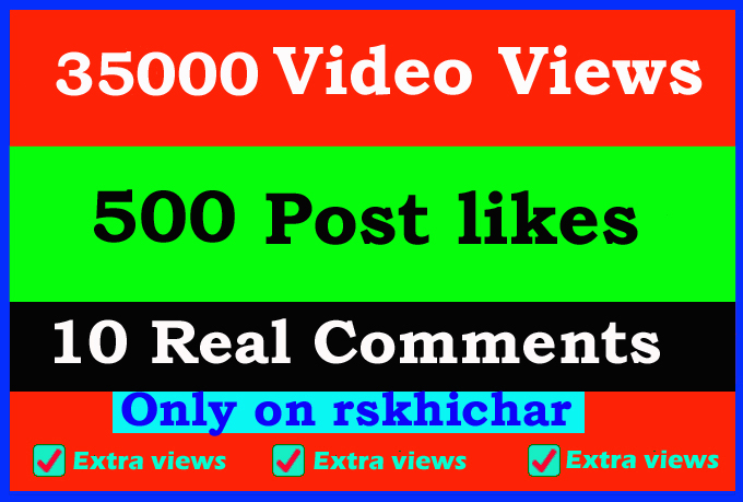 Fast 35000+ video views or 500+ Likes or 10 comments Social media promotion