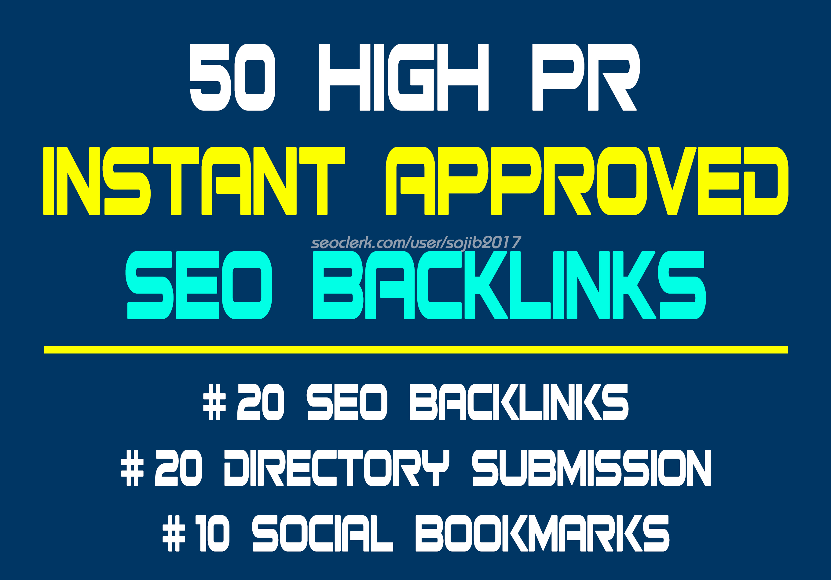 50 Instant approved SEO Backlinks in just 24 Hours