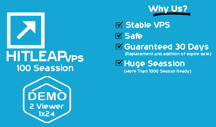 Hitleap VPS 100 seassion for 30 Days support 7x24