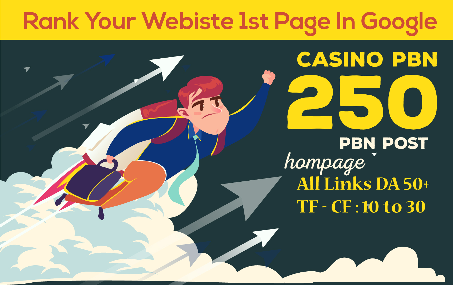 Make 250 Casino Poker PBN Backlinks on DA 50 + High Authority Sites