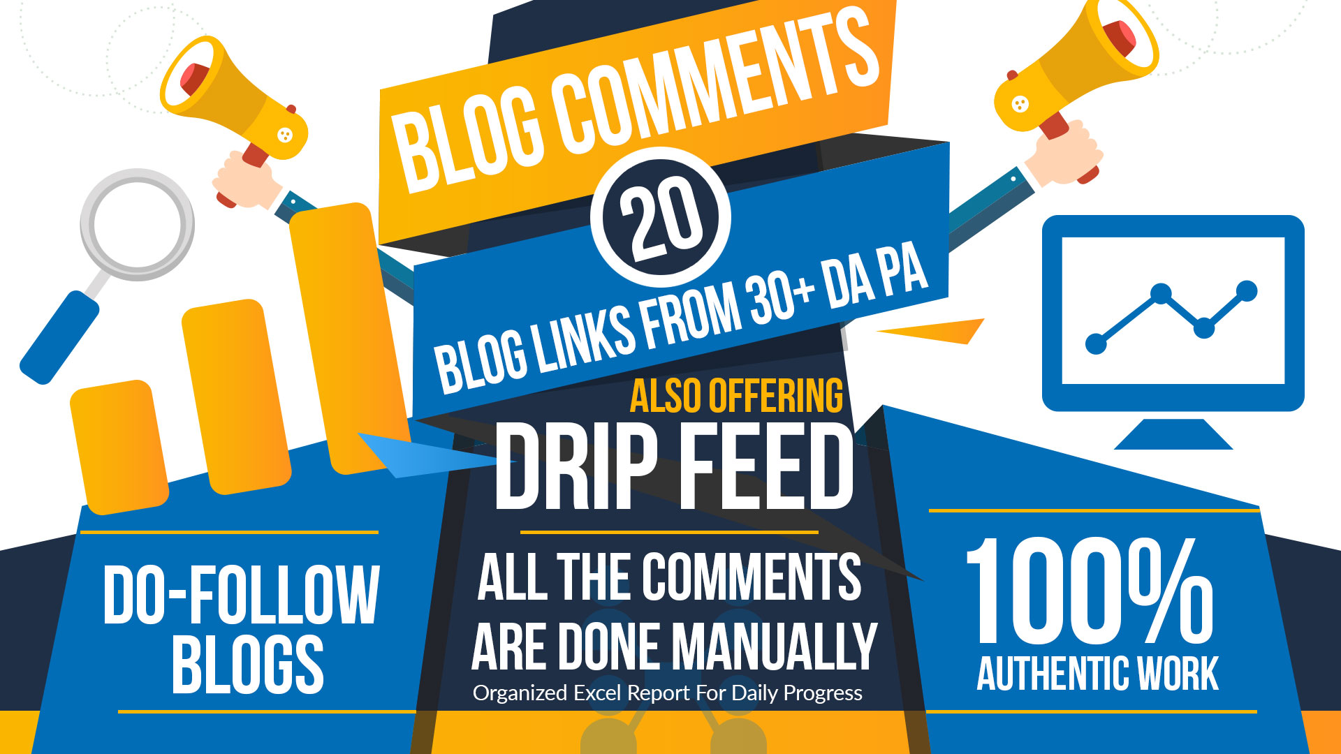 Do 15 Days SEO drip feed DA 30 to 80+ daily 20 dofollow blog commenting