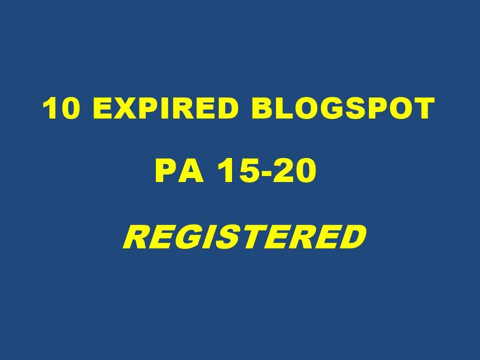 Register 10 Expired Blogspot Pa 15 Plus