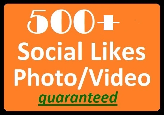 500+ Social Likes on Pics Or, 10k+ Video Views High-quality instant