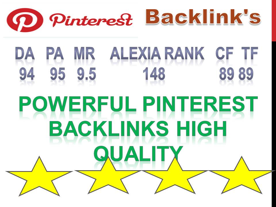 Supper Powerful Pinterest 100 Pin Backlinks High Quality DA, 94 PA, 95 Backlinks