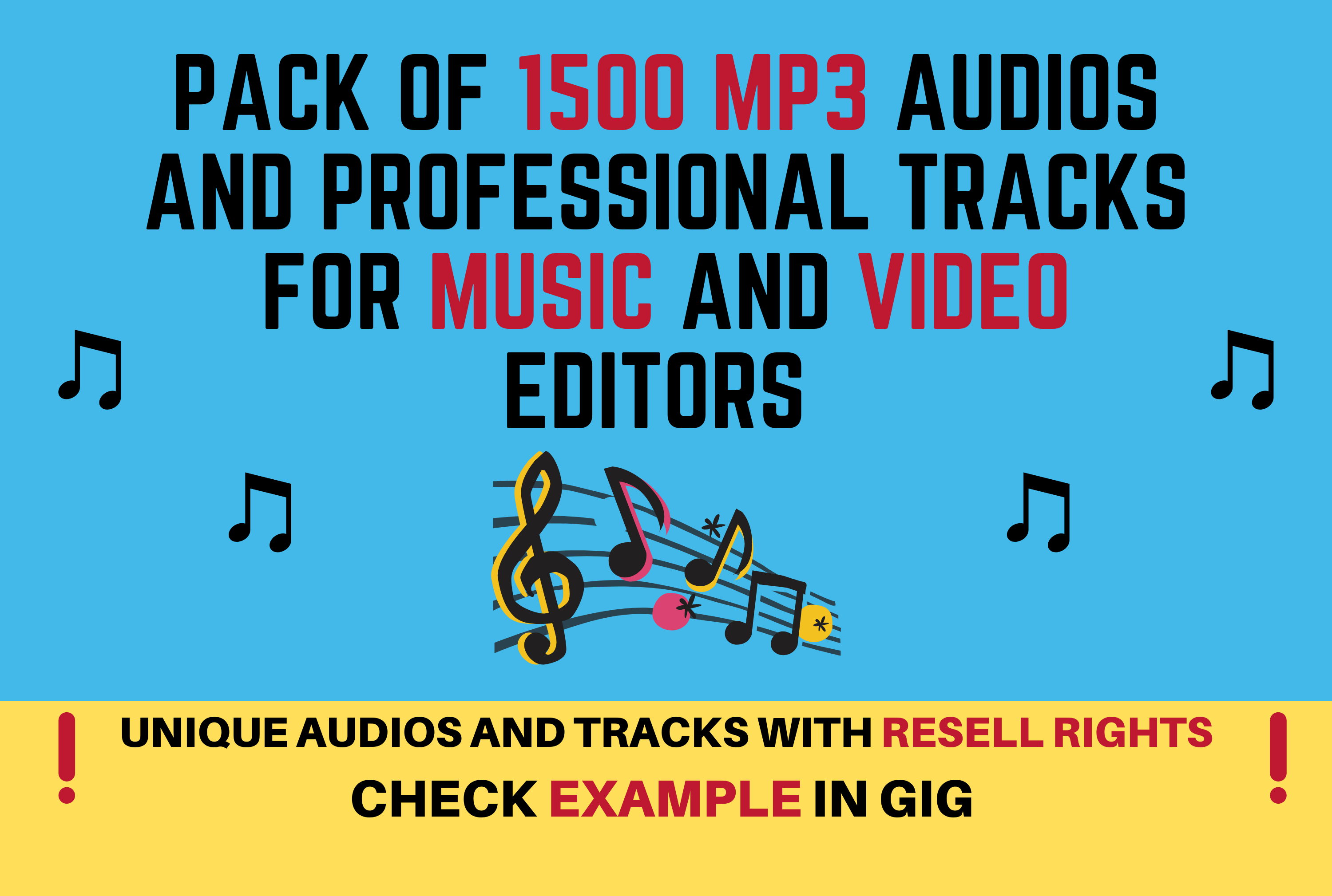 PACK OF 1500 MP3 AUDIOS AND PROFESSIONAL TRACKS FOR MUSIC AND VIDEO EDITORS