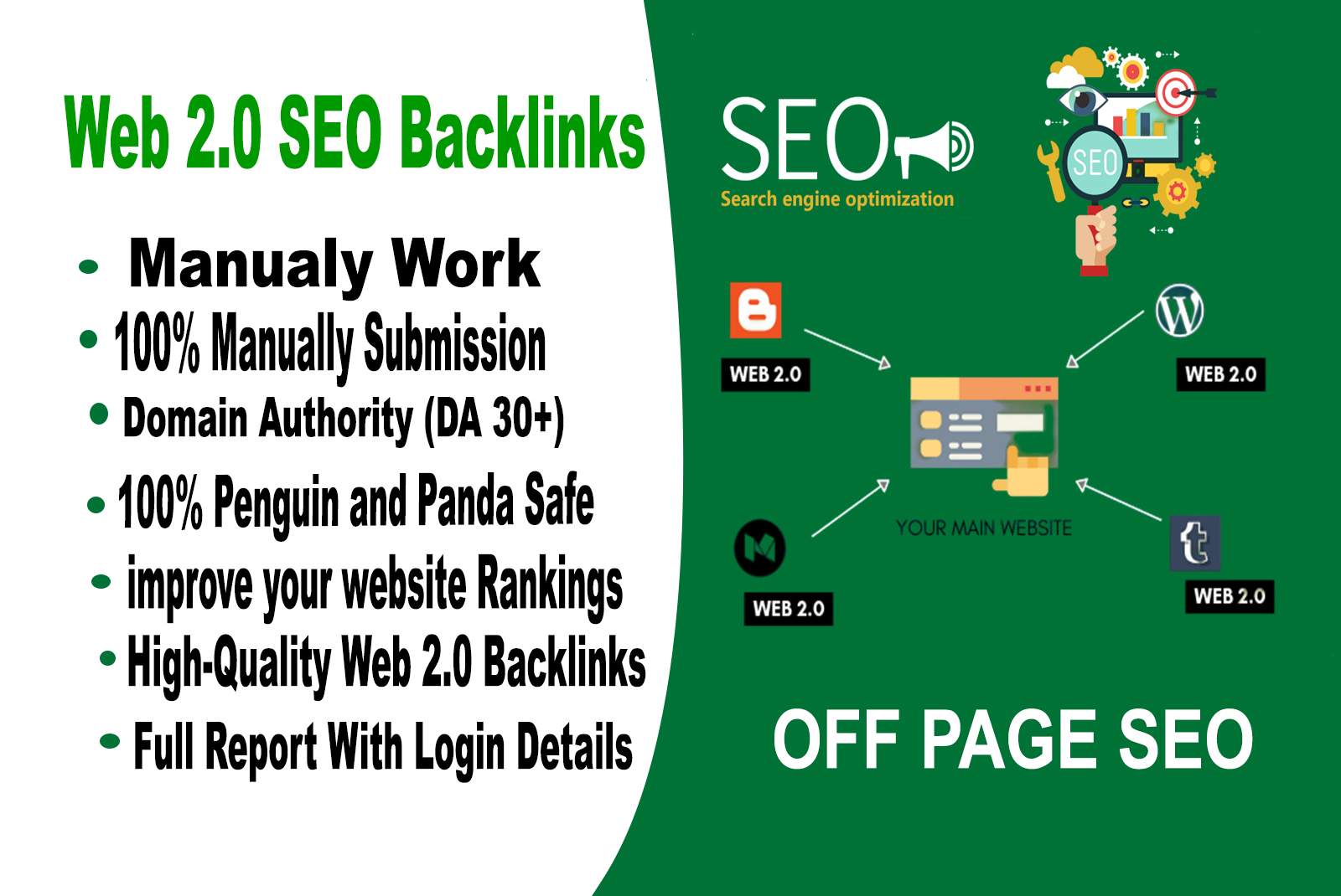 I will manually create HQ super web 2.0 Backlinks contextual links