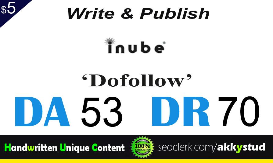 """write and publish UNIQUE guest post on """"Inube"""" DA-53"""
