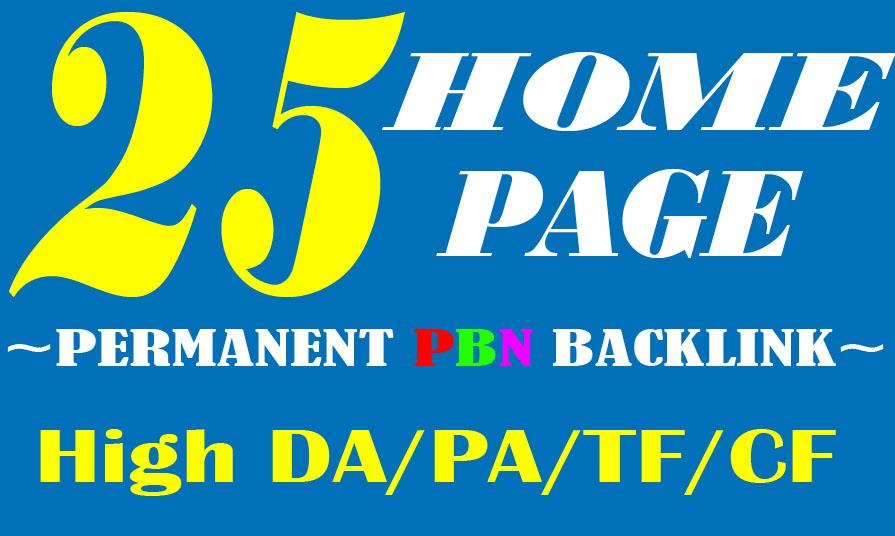 Create Manually 25 HOMEPAGE High Quality PBN SEO Backlink