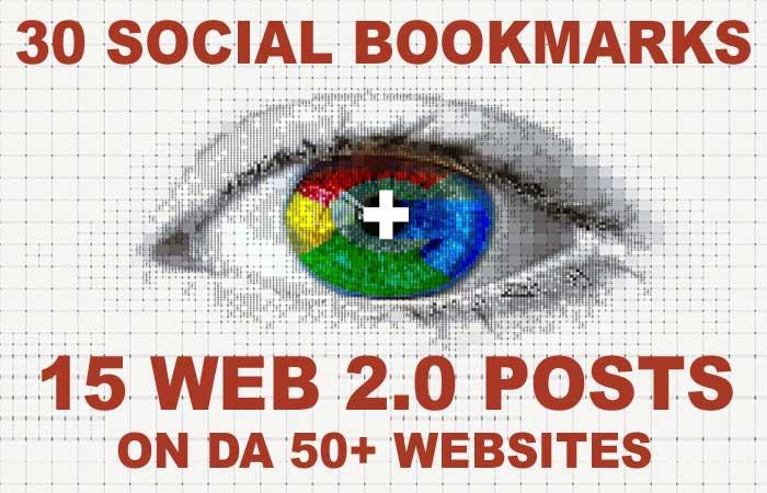 30 Social Bookmarks PLUS 15 Web 2.0 Backlinks on DA 50+ Websites