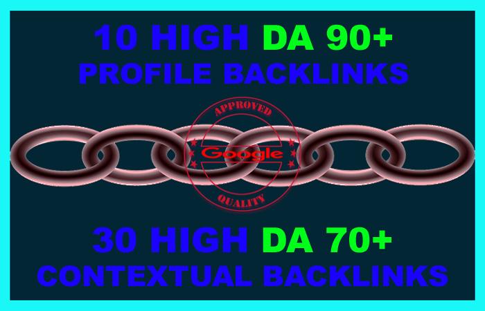 BEST SEO SERVICE IN 2020 - Manually Created 10 High DA 90+ AND 30 DA 70+ Backlinks