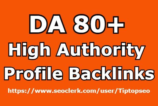 I will create 30 Profile Backlinks from DA 80+ Websites