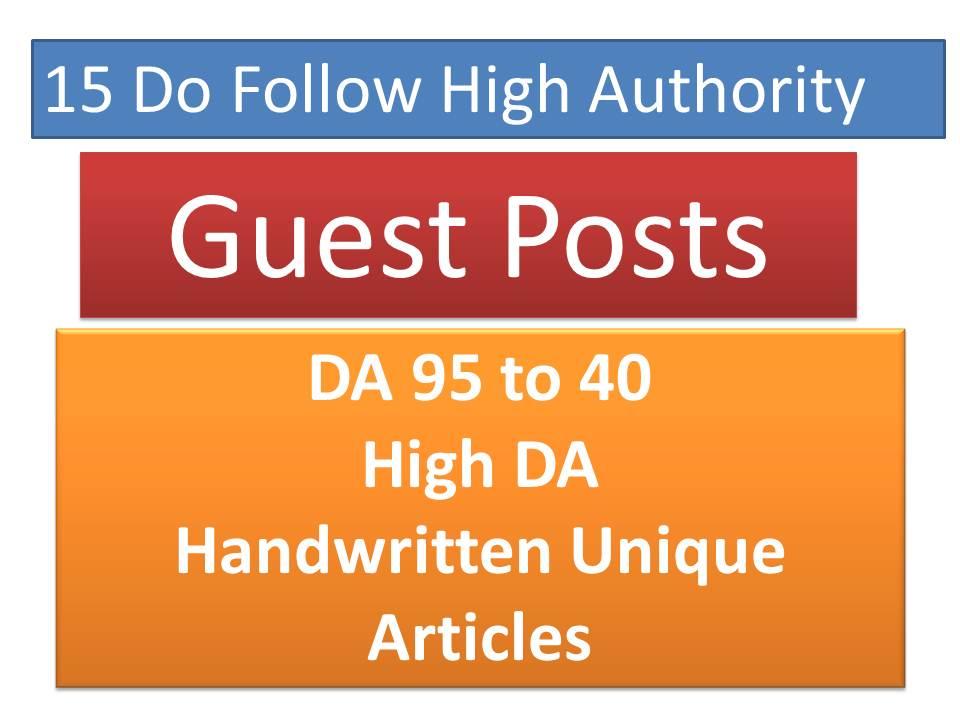 Publish 15 Unique Guest Posts articles on High DA Authority Backlinks