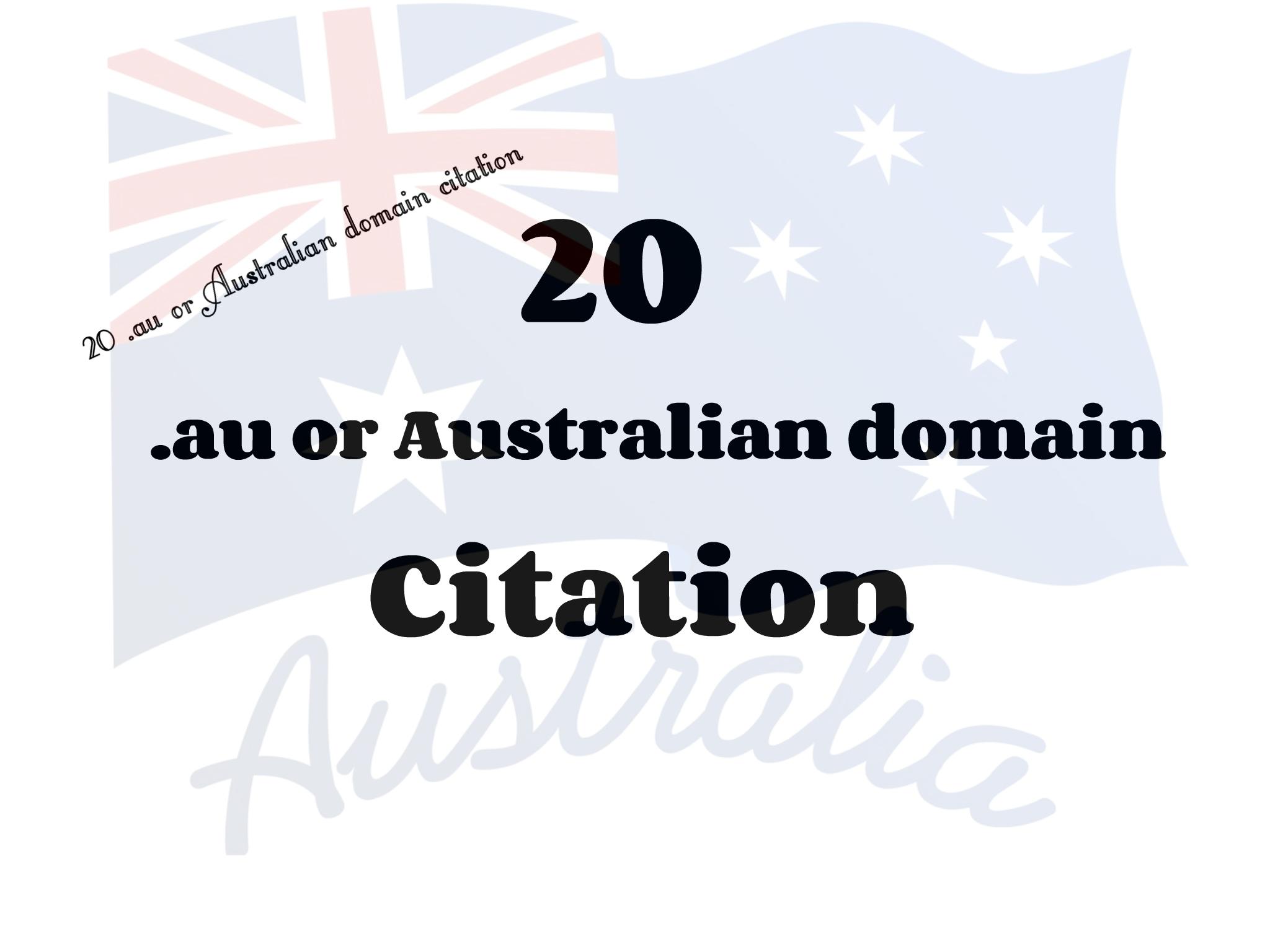 20. au or Australian domain Citation