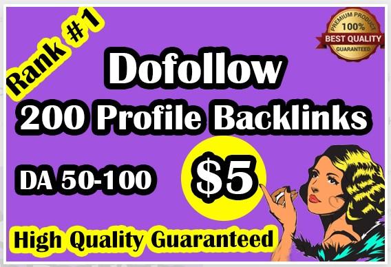 I will do high DA 50-100 backlink and social profiles for SEO ranking