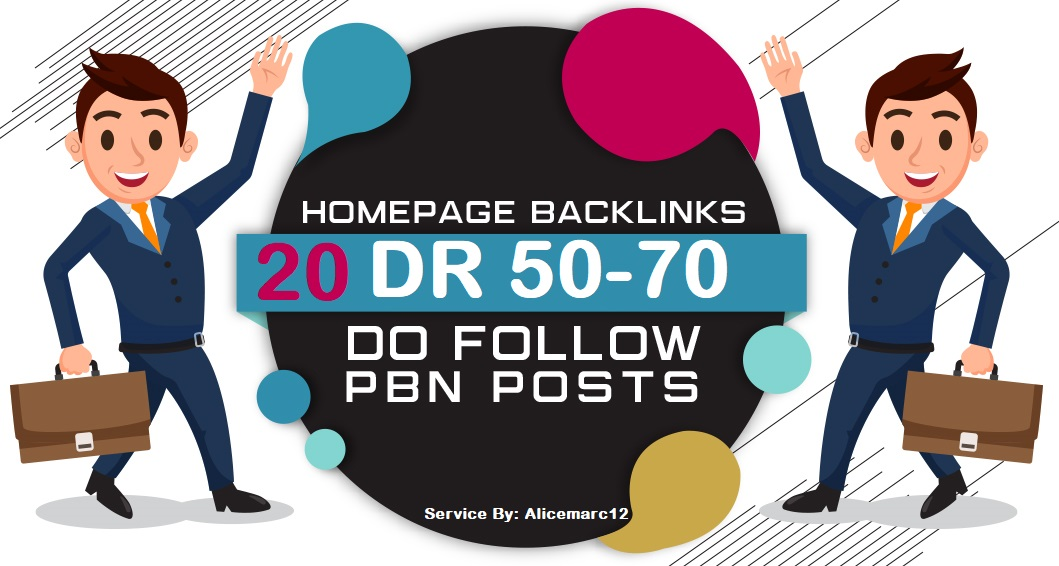 Homepage backlink 20 DR 50-70 Dofollow PBNs Links