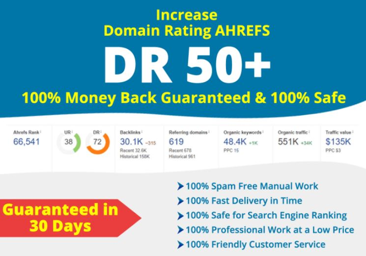 increase your domain rating DR 50 plus with SEO Authority backLinks