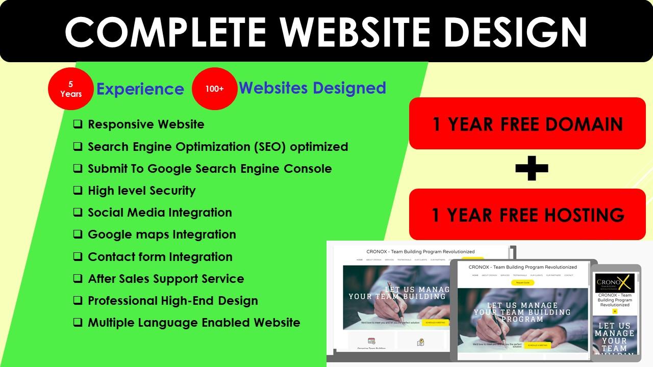 I provide complete package of domain,  hosting & Website Design