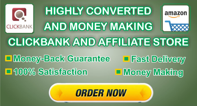 build highly converted, money making clickbank or amazon affiliate store with 10 products
