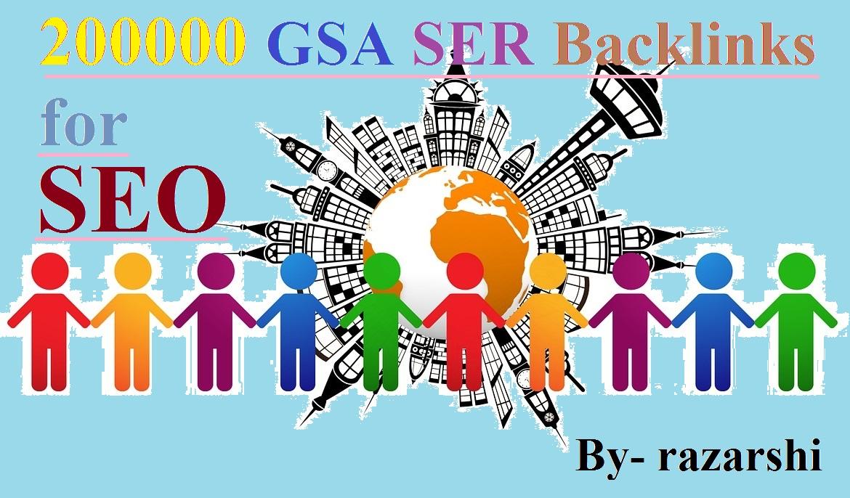 200000 GSA SER Backlinks for SEO