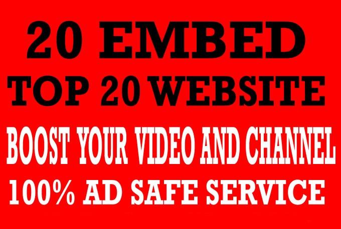organic youtube promotion 20 EMBED websites