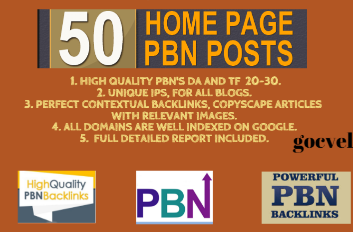 I will 50 high da pa tf cf homepage pbn backlinks permanent posts and 5 extra post