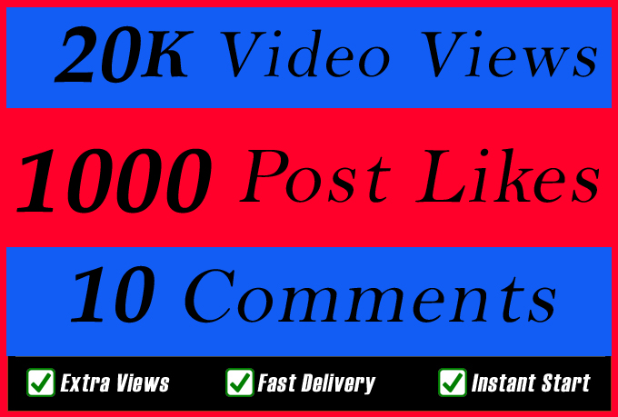 World Wide 20000 Video Views Promotion Or 1000 Likes Or 10 Comments for Social media Marketing