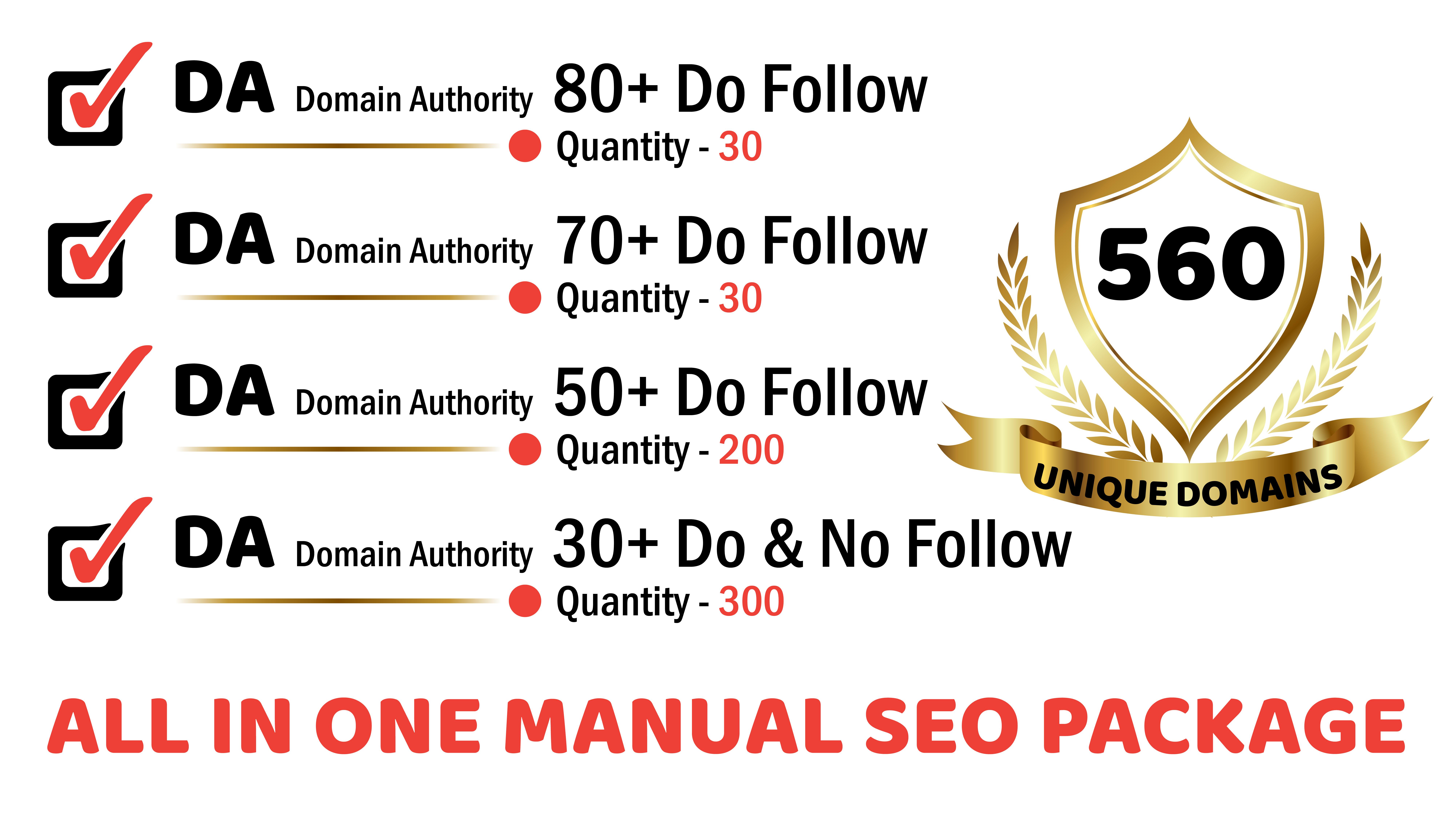 Manually Big Brand- DA 80+ to 40+- Unique 560 Domains- All In One SEO Service