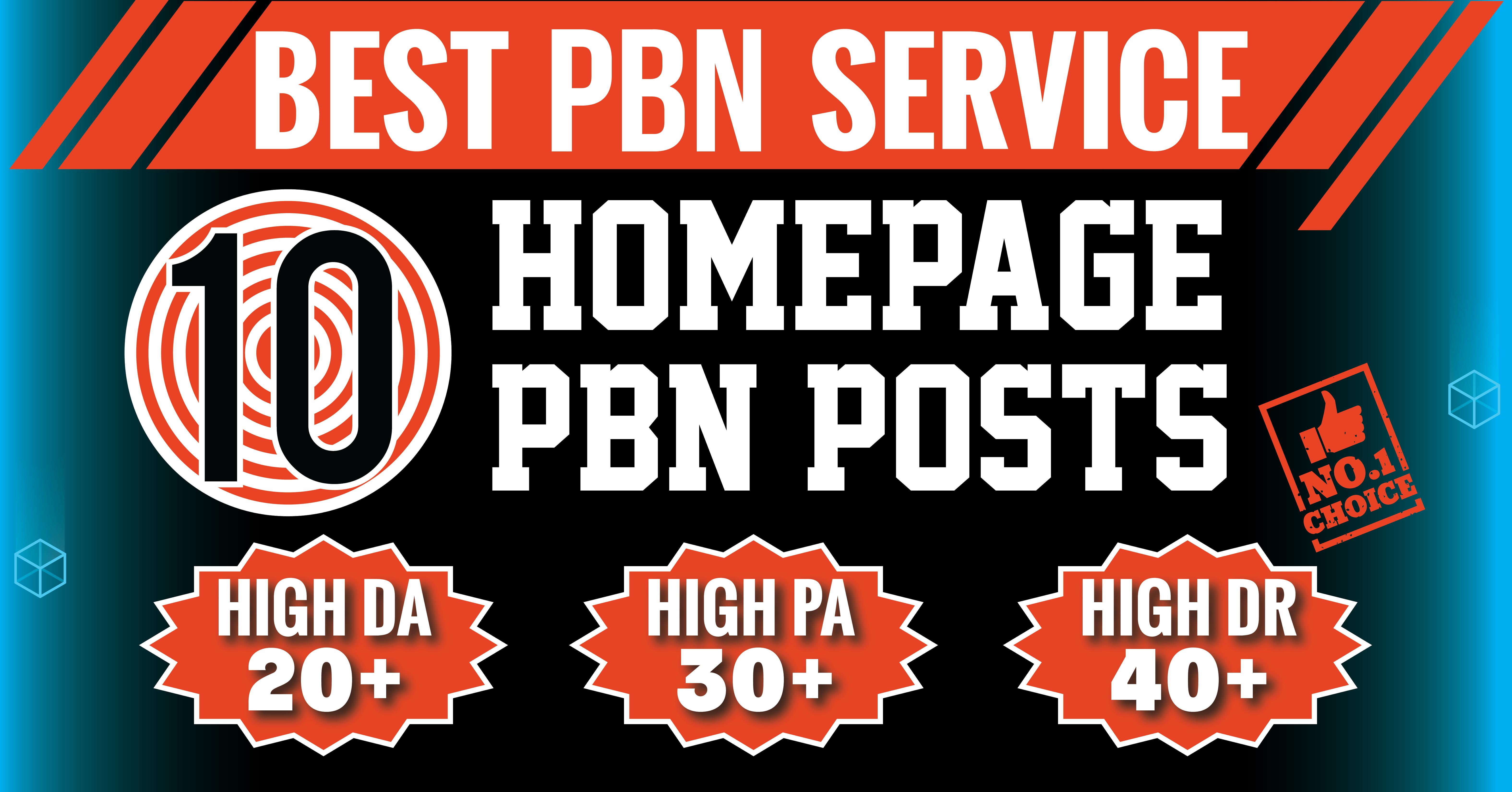 10 Homepage Manual High DA PA TF CF 20 to 40 Permanent PBN Backlinks