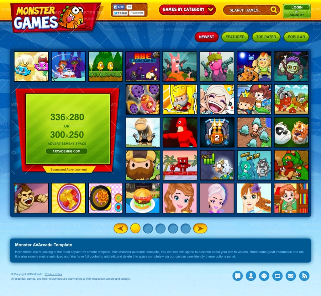 Create your own arcade games online website