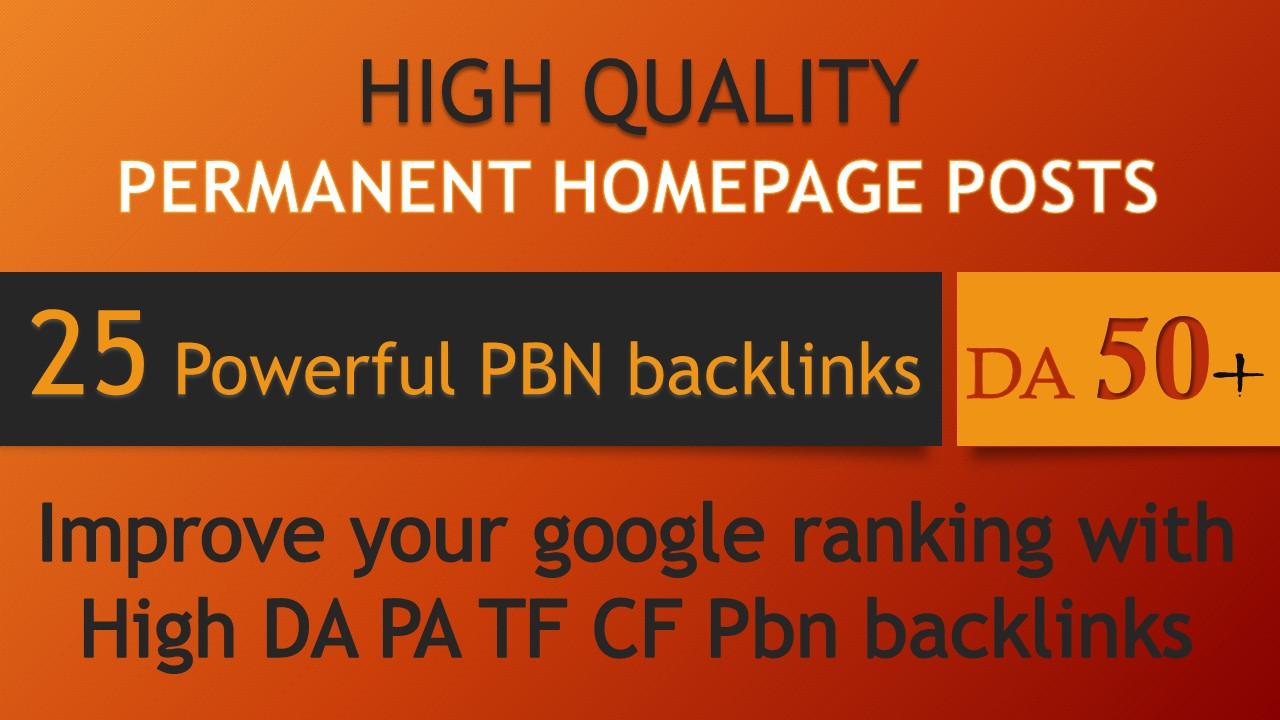 Buy 25 PBN powerful backlinks DA 50+ permanent homepage 0 spam score 100 dofollow backlinks