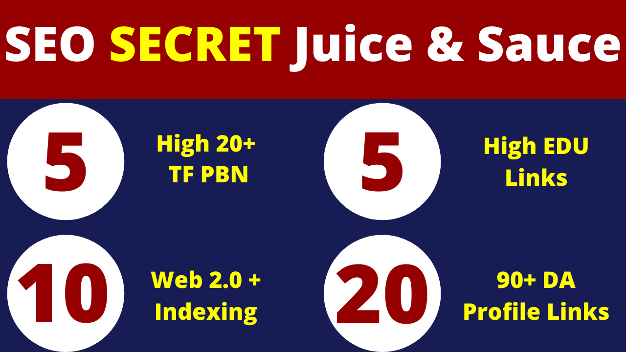 Manually Done - 10 Web 2.0,  5 High TF PBN,  5 EDU,  20 Profile Links