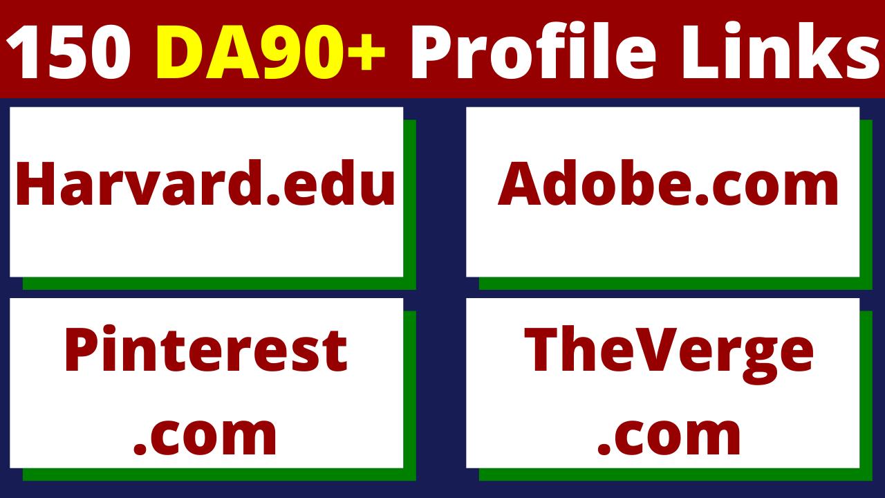 150 Profile Links From 90+DA Websites