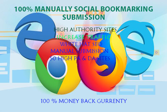I will do manually 50 bookmark submission backlinks,  High PA DA for your site.