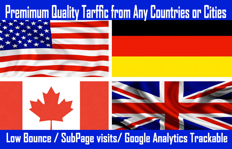 1 Lakh USA,  UK,  Canada,  Germany website traffic with Keyword targeted,  Analytics trackable