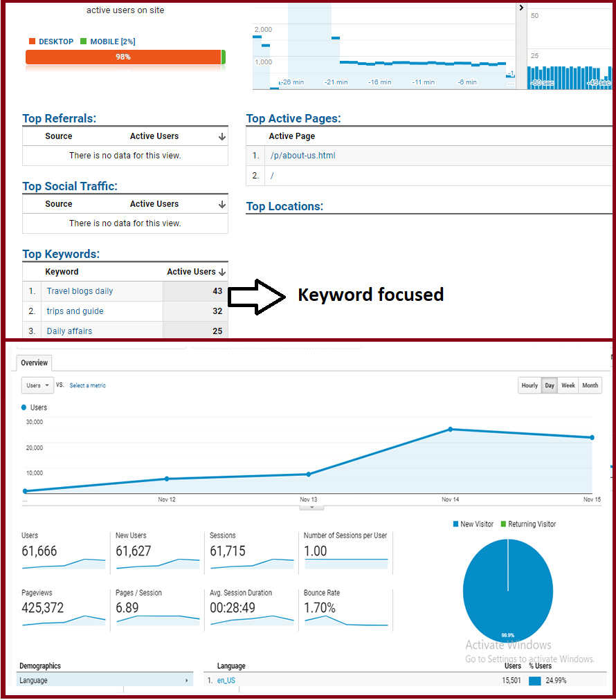 1 Million Traffic from Any Country Target and keyword targeted for 11 days