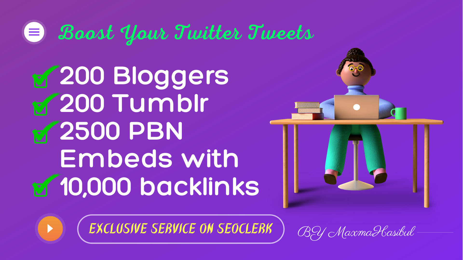 Twitter Tweet SEO Embeds on 200 Blogger,  200 Tumblr,  2500 PBN Blog Embeds with 10,000 Backlinks