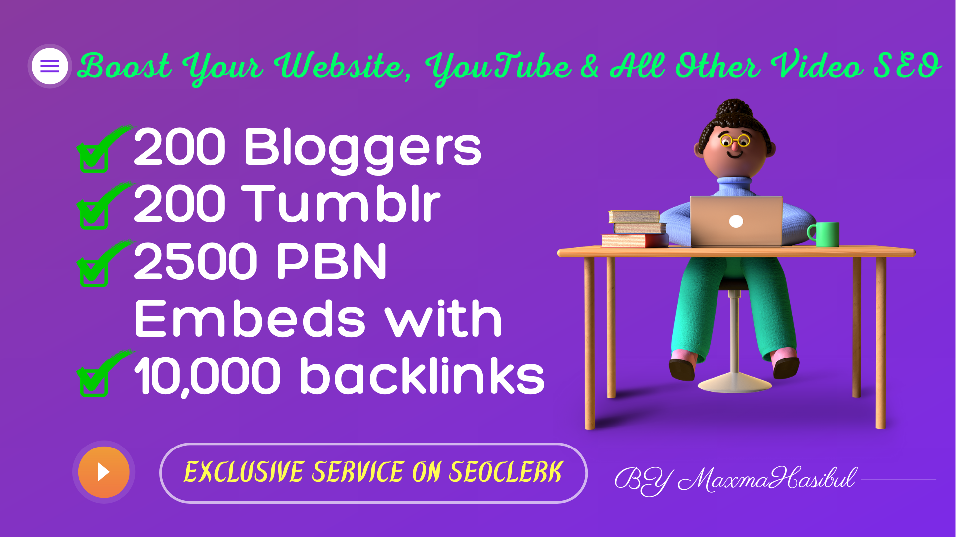 200 Blogger,  200 Tumblr,  2500 PBN Blog Embeds with 10,000 Backlinks for YouTube Video SEO