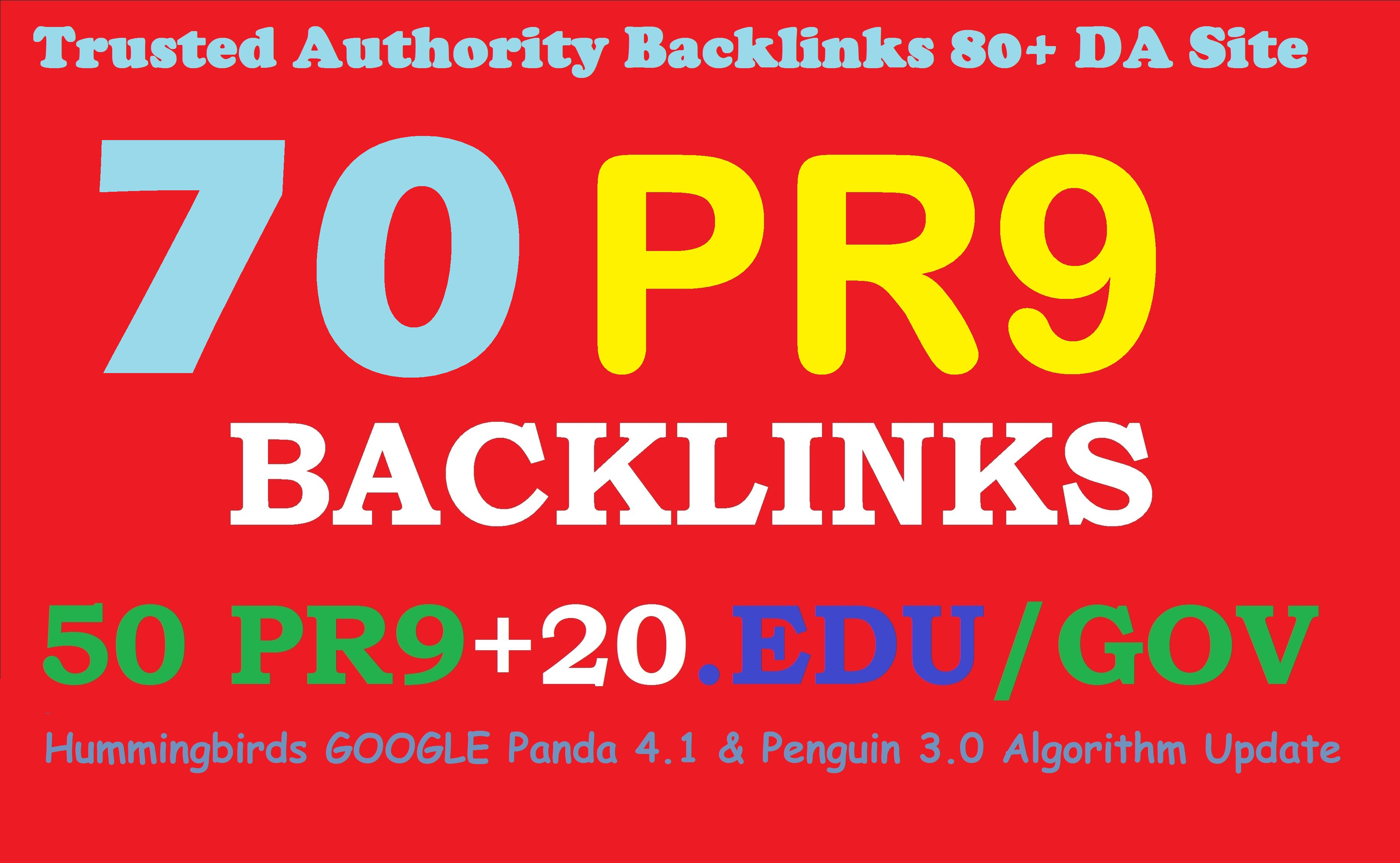 Exclusively 70 backlinks 50 PR9+20 EDU/GOV 80+DA Manual & Safe SEO For Boost Your Google Ranking