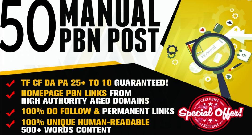 Manual 50 pbn posts contextual backlinks da25 plus fresh domains