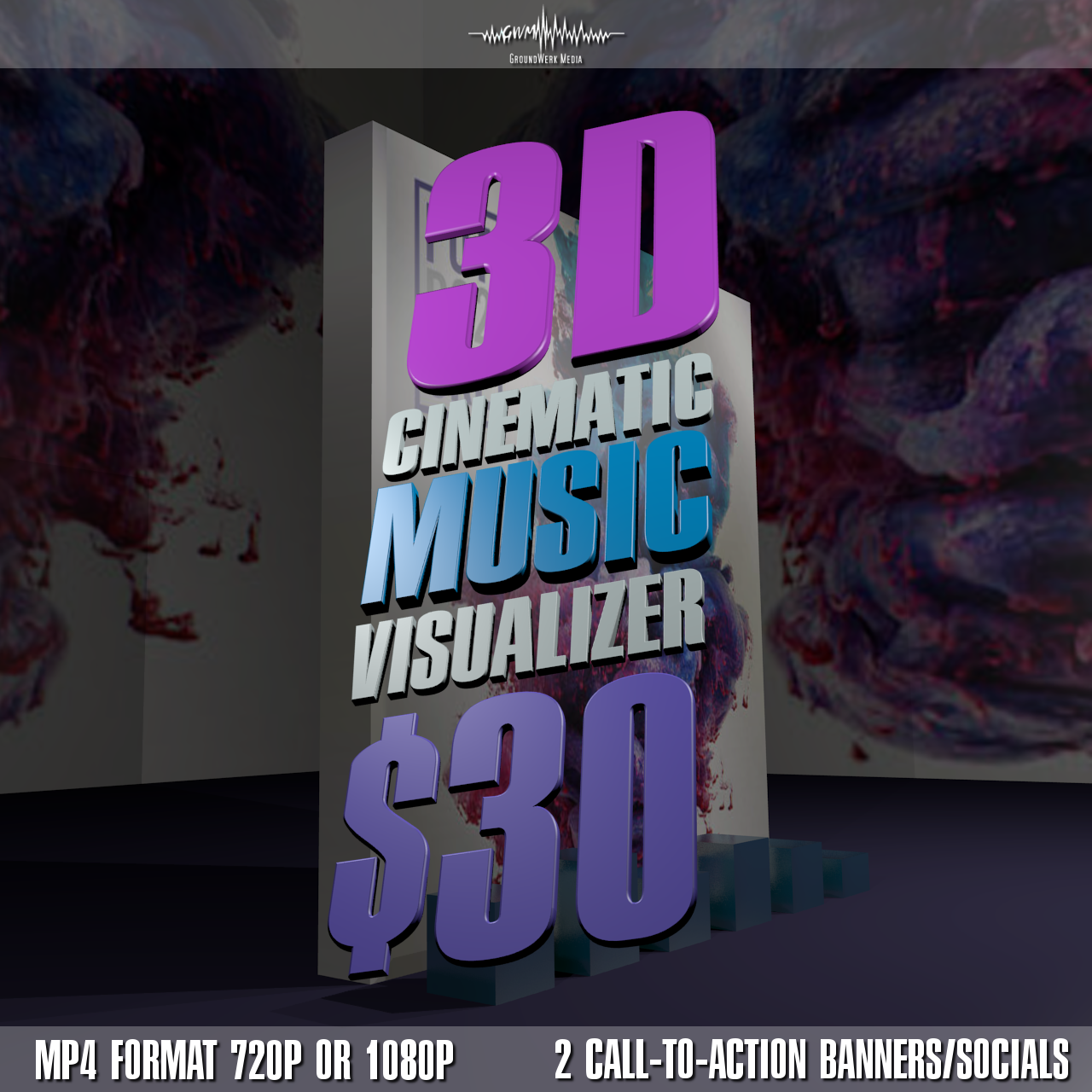 I will create a cinematic 3D visualizer for your music