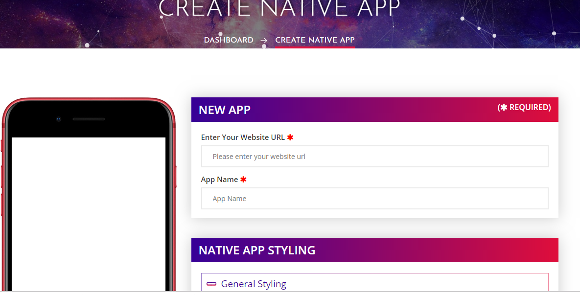 I will give you an app builder to convert any website to native mobile app