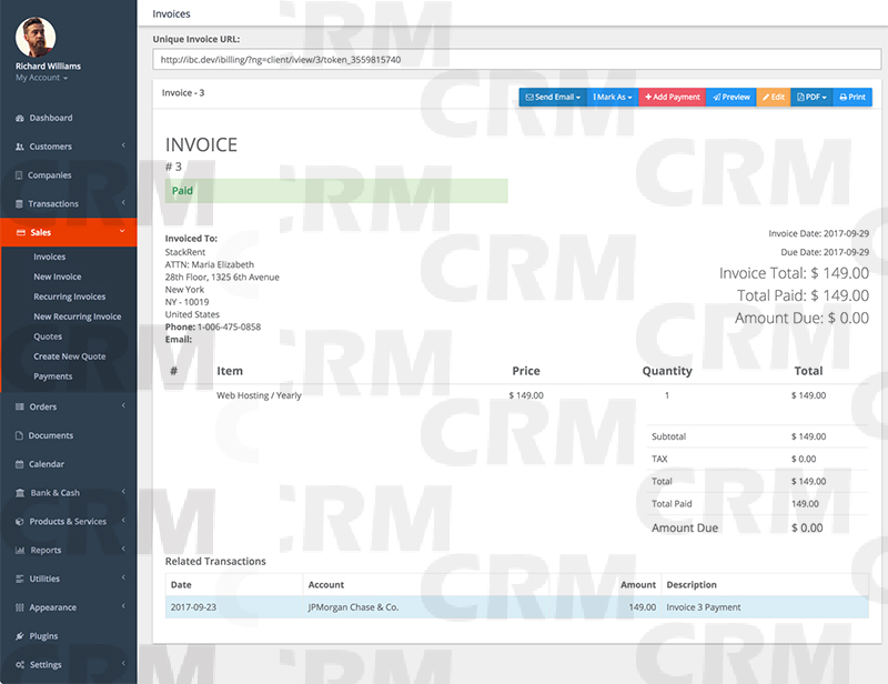 CRM Web Invoice billing Customer Relationship Manager (PHP Script)
