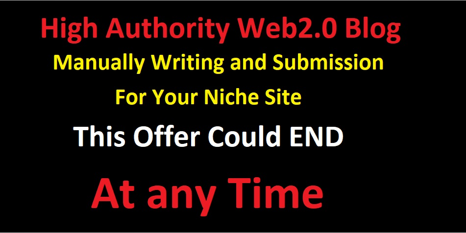 Web 2.0 Blog Manually Writing and Submission for your Niche Site