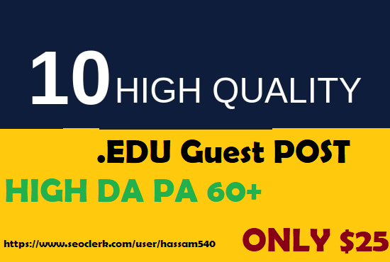 10 EDU Guest Posts DF On High Authority Sites